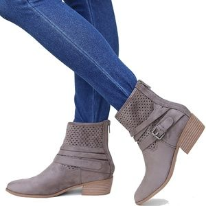 Gray Western Strappy Low Heel Ankle Boots Booties